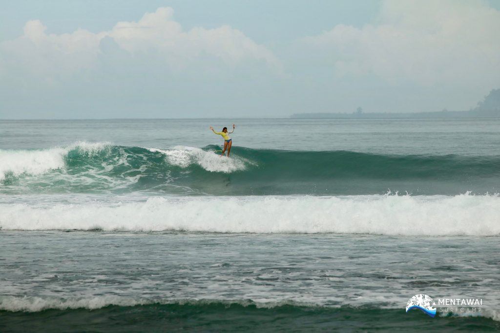 Alice Lemoigne surfing Mentawai Surf Camp